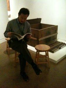 John Esaki hanging out in front of Esaki tub in American Tapestry gallery