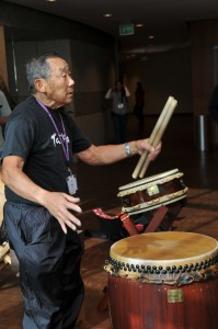 Hal Keimi is a long-time JANM volunteer who leads interactive taiko demonstrations for school tours throughout the year. He led 2 taiko sessions at Oshogatsu Family Festival