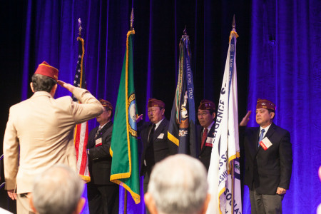 The Seattle Nisei Veterans Committee carried in the colors to kick off the Opening General Session.