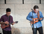 Tj Mayeshiro and Ryo Montgomery pair up for a powerful ukulele duet. Photo by M Palma.