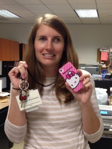 With Hello Kitty phone and key in hand at all times, Maggie has been working hard to make sure all the Hello Kitty art and artifacts make it to the museum safely.