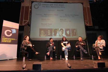 Fresh Off the Boat panel at the 2014 Conference for Creative Content (C3), with with moderator Amy Hill (actor), Randall Park (star), Nahnatchka Khan (showrunner), Melvin Mar (executive producer), and Samie Kim Falvey (Executive Vice President, Comedy Development, ABC).