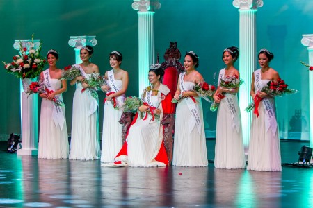 The 2015 Nisei Week Court at Coronation. Photo by John Fujinami.