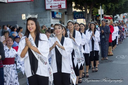 The 2015 Nisei Week Court participates in the Ondo dance and Closing Ceremony. Photo by John Fujinami.