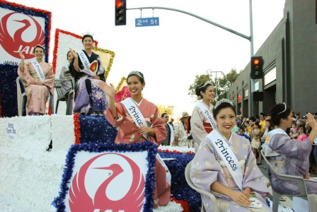 The 2015 Nisei Week Court rides in the Grand Parade. Photo by Richard Watanabe.