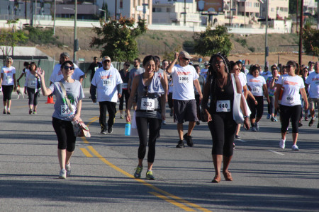 JANM staffers Sylvia Lopez, Kelly Kawata, and Vedette Philip participate in the 5K run. Photo by Richard Murakami.