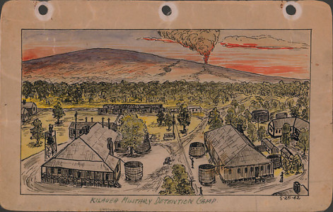 George Hoshida, Kilauea Military Detention Camp, 1942, ink and watercolor on paper. Japanese American National Museum. Gift of June Hoshida Honma, Sandra Hoshida, and Carole Hoshida Kanada.
