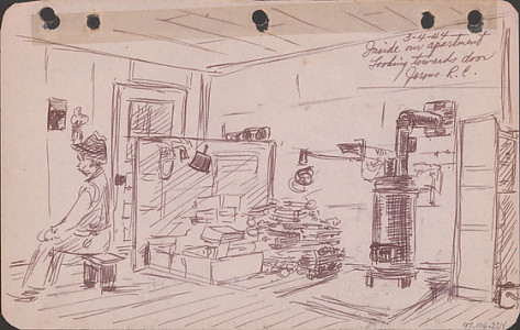 George Hoshida, Inside Our Apartment, Looking Towards Door, Jerome Relocation Center, 1944, ink on paper. Japanese American National Museum. Gift of June Hoshida Honma, Sandra Hoshida, and Carole Hoshida Kanada.