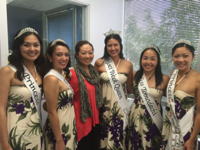 Members of the 2015 Nisei Week Court donned local-style garb for this visit to Japanese-English radio station KZOO Radio.