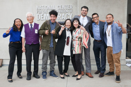 "National Youth Summit presenters celebrate a successful event. L to R: Mariko Rooks, William ""Bill"" Shishima, Kane Tenorio, Lori Bannai, Karen Korematsu, Hussam Ayloush, David Ono, and G Yamazawa."