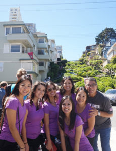 The 2015 Nisei Week Court poses with Nisei Week Foundation President Terry Hara in front of San Francisco's iconic Lombard Street.